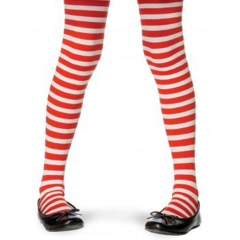 Child Christmas Theme Striped Tights Costume Accessory Red White.jpg