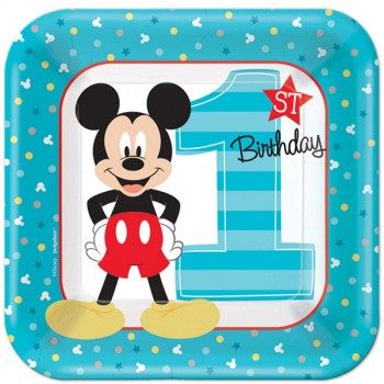 Mickey Mouse Fun to Be One 1st Birthday Square Paper Lunch Plates 18cm Pack of 8.jpg