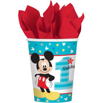 Mickey Mouse Fun to Be One 1st Birthday Paper Cups 266ml Pack of 8.jpg