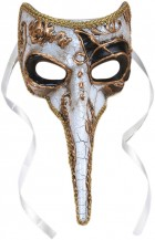 Long Nosed Adult Venetian Mask Costume Accessory Black & White_thumb.jpg
