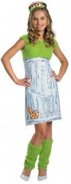 Sesame Street Oscar the Grouch Tween Girl's Costume 14-16_thumb.jpg