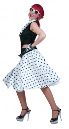 Sock Hop Skirt Scarf White Black Adult Costume_thumb.jpg