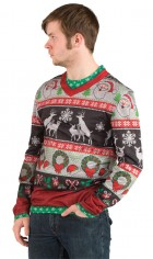 Ugly Sweater Christmas Frisky Deer Adult T-Shirt_thumb.jpg