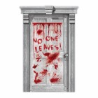 Asylum Dripping Blood Handprint No One Leaves Plastic Door Cover_thumb.jpg