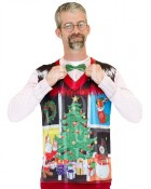 Ugly Sweater Noel Christmas Vest with Bow Tie Adult T-Shirt_thumb.jpg