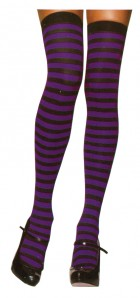 Thigh High Sexy Women's Stockings Striped Black & Purple_thumb.jpg
