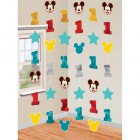 Mickey Mouse Fun to Be One 1st Birthday Foil Cardboard Cutout String Decorations Pack of 6