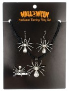 Necklace Ring Earring Set Spiders