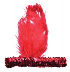 1920s Flapper Stretch Sequin Headband Costume Accessory Red