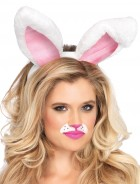 Bunny Ears Adult Plush White Easter Costume Accessory