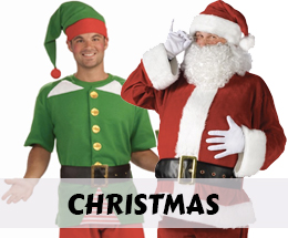 Christmas costumes, party supplies and Santa suits.