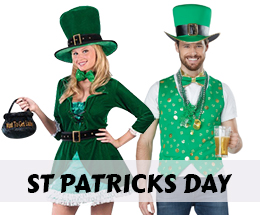 St. Patrick's Day costumes and party decorations.