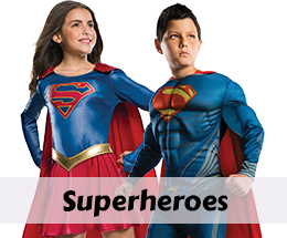Superhero costumes, accessories and party supplies.